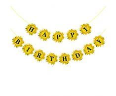 Rainlemon Sunflower Happy Birthday Banner für Mädchen, Party-Dekoration
