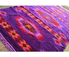 Damaskunst Neu,Violett,Purple,lila,Braun,Rot,Orange Teppich 200 cm x 300 cm,Kelim Orient,Wand Teppich,Carpet, Rug, S 1-6-83