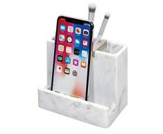 iDesign Badezimmer Ablage, Zahnbürsten Halter mit 3 Fächern und Ablage aus Kunstharz und Metall, eleganter Smartphone Ständer für den Waschtisch, weiß und silberfarben