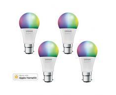 OSRAM SMART+ LED, Bluetooth Lampe mit B22d Sockel, RGB Farbwechsel, dimmbar, ersetzt 60W Glühbirne, warmweiß, 4er Pack, Kompatibel mit Apple Homekit und LEDVANCE Smart+ App für Android