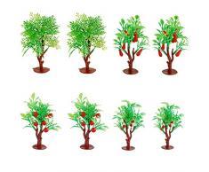 NWFashion 8-9 cm Obstbaum aus Kunststoff für DIY Spielzeug Green Farm City Road Scenery