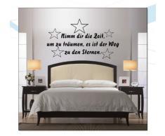 INDIGOS WG30033-70 Wandtattoo w033 Spruch Nimm dir Zeit um zu träumen, es ist der Weg zu den Sternen 120 x 68, schwarz