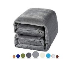 Balichun Weiche Fleecedecke, Winter, warm, gebürstetes Flanell, für alle Jahreszeiten, leicht, Thermo-Überwurf für Bett, Sofa oder Couch Twin grau