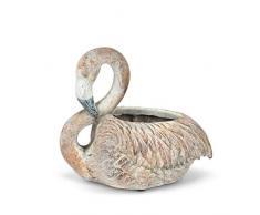 Abbott Collection 27-Miami-SM Blumentopf Flamingo, klein, Antikrosa