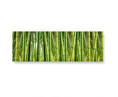 """LANA KK – Glasbild """"Bambuswald"""" edler Glas-Kunstdruck hinter 4 mm starkem geschliffenem Glas in grün, einteilig in 120x40cm"""
