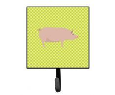 Caroline s Treasures Englisch groß weiß Pig grün Wandhaken, Multicolor, S