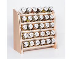 Gald Gewürzregal, Küchenregal für Gewürze und Kräuter, 30 Gläser, Holz, Naturell/glänzend, 31.5 x 34.5 x 14.5 cm