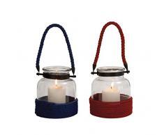 Benzara Schwingungsdämpfer 2 Die einfache sortiert Glas Seil Laterne