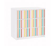 Apalis 91714 Möbelfolie für Ikea Malm Kommode nummer UL750 Stripes, größe 3 mal, 20 x 80 cm