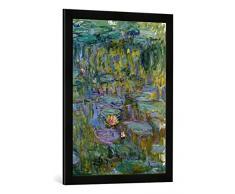 Gerahmtes Bild von Claude Monet Seerosen, Kunstdruck im hochwertigen handgefertigten Bilder-Rahmen, 50x70 cm, Schwarz matt