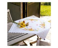 Vervaco Tischdecke Kaninchen Bedruckte Decke/Läufer mit Webrand, Baumwolle, Mehrfarbig 80 x 80 x 0,3 cm