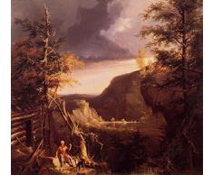 OdsanArt 12 x 11 cm, Impressionismus andere Daniel Boone Sitzens an der Tür, an der Duschkabine auf die tolle Osage Lake Kentucky, von Thomas Cole Hochwertiger edler Kunstdruck auf Leinwand