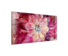 Apalis 108774 Magnettafel Grunge Flower Memoboard Design Quer Metall Magnet Pinnwand Motiv Wand Stahl Küche Büro, 37 x 78 cm