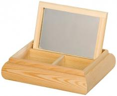 Artemio 20 x 16 x 5 cm (2-Tasche mit Spiegel für Frisiertisch, Holz, Beige