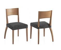 Bartali Zweier Set Stretch Hussen für Stühle Aitana - Farbe Grau - 1 Sitzer(45 x 45 cm)