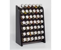 Gald Gewürzregal, Küchenregal für Gewürze und Kräuter, 42 Gläser, Holz, Venge (Schwarz)/Glänzend, 31.5 x 47 x 17 cm