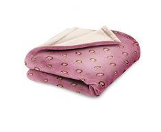 Emoji Lucy Fleecedecke, Polyester, Pink, Einzelbett, 190 x 120 x 3 cm