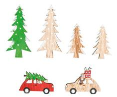 Rayher 46271000 Christmas is coming Holz-Streudeko, Stärke 3 mm, Holzstreuteile, Tischstreuer, Tischdeko, Holz-Streuteile Weihnachten, Btl. 6 Stück, 5-8 cm