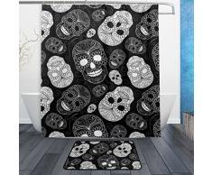 Einzigartige Day Of The Dead Floral Sugar Skulls Halloween Decor Wasserdicht Polyester Stoff Vorhang für die Dusche (152,4 x 182,9 cm) Set mit 12 Haken und Bad-Teppiche Teppiche (59,9 x 39,9 cm) für Badezimmer – Set von 2