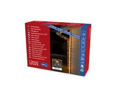 Konstsmide 3649-800 Micro LED Lichterkette, gefrostet / für Außen (IP44) / 1200 bernsteinfarbene Dioden / 24V Außentrafo / schwarzes Kabel