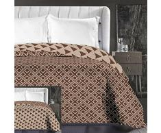 DecoKing 86667 Tagesdecke 220 x 240 cm beige Cappuccino braun Schoko Bettüberwurf zweiseitig pflegeleicht geometrisches Muster Brown Chocolate Hypnosis Collection Triangles