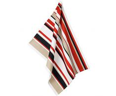 kela 11735 Geschirrtuch Tabea Cups im Streifendesign breit, Baumwolle, weiß/rot / Taupe, 50 x 60 x 1 cm