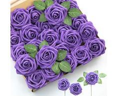 Abetree Künstliche Rosen Blumen Realistische Fake mit Stielen für DIY Hochzeit Blumensträuße Tafelaufsätze Arrangements Party Baby Dusche Home Dekoration 25Pcs violett