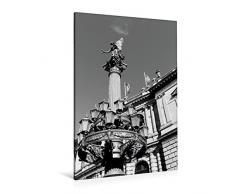 Calvendo Premium Textil-Leinwand 80 cm x 120 cm hoch, Detailreiche Laterne mit Statue am Rudolfinum | Wandbild, Bild auf Keilrahmen, Fertigbild auf Echter Leinwand, Leinwanddruck Orte Orte