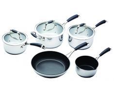 Kitchen Craft Induktionstaugliches Master Class-Stieltopf-und Pfannen-Set, Edelstahl, Silber, 0 cm, 5-Einheiten