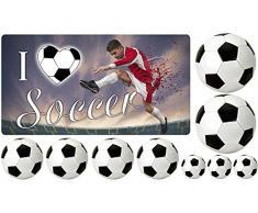 Graz Design 721300_100x57 Wandsticker Wanddeko Aufkleber Set fr Kinderzimmer Fuballer I love Soccer (Gre=100x57cm)