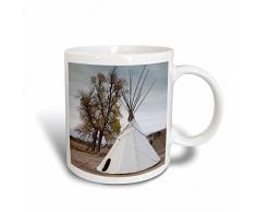 3dRose, Waschbecken, stuhr, Tipi, Tasse aus Keramik, Weiß, 10,16 x 7,62 x 9,52 cm