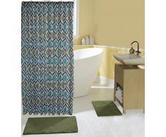 15-teiliges Bad-Set komplett mit 2Memory Foam Bad-Teppiche, Vorhang für die Dusche und Haken in Sage