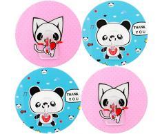 mumbi Handtuchhalter selbstklebend Handtuchhaken (ohne Bohren, Klebehaken) mit Motiv Katze/Panda (4-er Set)