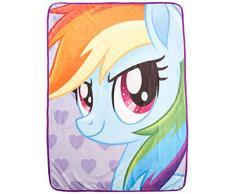 Hasbro My Little Pony, Rainbow Selfies Micro Raschel Throw Blanket, 46 x 60 Überwurf Decke, merhfarbig