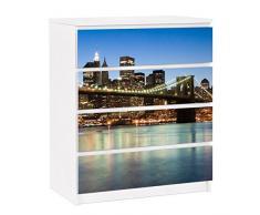 Apalis 91222 Möbelfolie für Ikea Malm Kommode - selbstklebende Brooklyn Brücke in New York, größe 4 mal, 20 x 80 cm