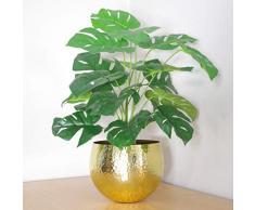Leaf Künstliche Pflanze mit goldenem Metall-Pflanzgefäß, 60 cm Monstera + Topf