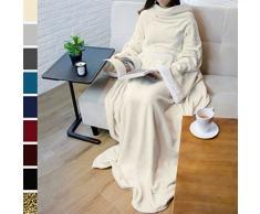 PAVILIA Deluxe Fleece Decke mit Ärmeln für Erwachsene, Herren, und Women  Elegante, Cozy, warm, extra weich, Plüsch, funktional, leicht tragbar Überwurf 50 x 70 inches Navy