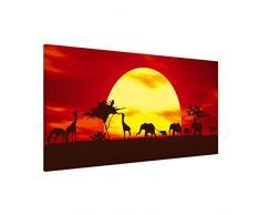 Apalis 108846 Magnettafel Sunset Caravan Memoboard Design Quer Metall Magnet Pinnwand Motiv Wand Stahl Küche Büro, 37 x 78 cm