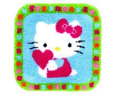 Vervaco PN-0153808 Knuepfhaken Teppich, Hallo Kaetzchen mit Herz