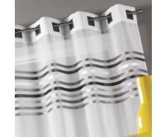 Homemaison HM6913488 Gardine, gestreiftes Muster oben eingewebt, Grau