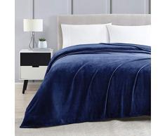 Lovescabin Fleece-Decke, Flanell, superweich, doppelseitig, warme Bettdecke, gemütliche Mikrofaser-Decke für alle Jahreszeiten. Modern King Marineblau