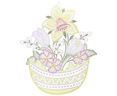 Plauner Spitze, 21 x 25 cm Bouquet Bilderrahmen, Spitze aus Glas Ostereier, Gelb/Bordeaux
