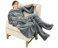 Katalonien tragbar Ärmeln Decke mit Armen und Füße Taschen für Erwachsene Frauen Herren Micro Plüsch große Wrap Überwurf aus Fleece Bademantel 190,5 x 134,6 cm grau