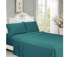 LEXINGTON Premium Bambus Bett Blätter – Deep Pocket, die Ultra Soft Cool Bettwäsche – Mischung aus natürlichem Bambus-6 PCS 1 Spannbettlaken, 1 flach, 4 Kissenbezügen Queen blaugrün