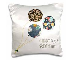 3dRose Happy 83rd Birthday-modern Stilvolle Floral Luftballons. Elegante Schwarz Braun Blau 83 Jahr Old Bday-Pillow Fall, 16 von 40,6 cm (PC 162024 _ 1)