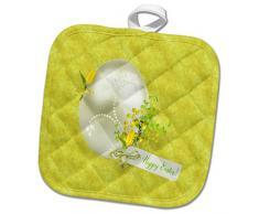 3dRose phl_276134_1 Topflappen, dekoriertes Ei mit Tulpen und Perlen, Happy Easter, 20,3 x 20,3 cm