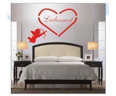 INDIGOS WG10022-80 Wandtattoo W022 Spruch Liebesnest Love Herz 80 x 55, braun