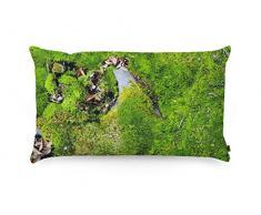 FOONKA Buchweizen Kissen 50x30 cm, Kopfkissen gefüllt mit Buchweizenschalen, Cotton, Moos, Grün