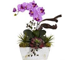 Nearly Natural Fast Natur 1458-ma Orchidee und vollmundigen Garten mit Pflanzentopf, Waschen, weiß