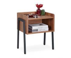 Relaxdays Beistelltisch, Industrial Style, 2 Ablagen, Nachttisch Holzoptik, Stahl, HBT: 53 x 45 x 35 cm, braun/schwarz, 1 Stück